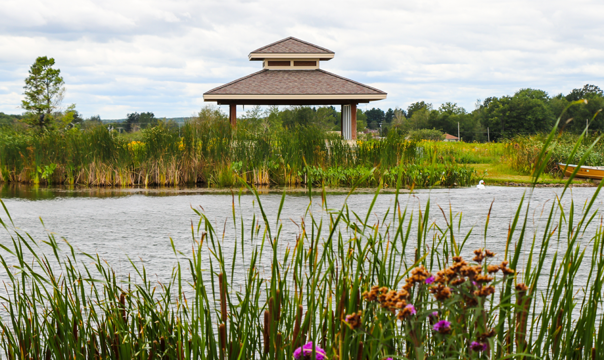 Lakefront property view of Prairie Lake's lakeside gazebo