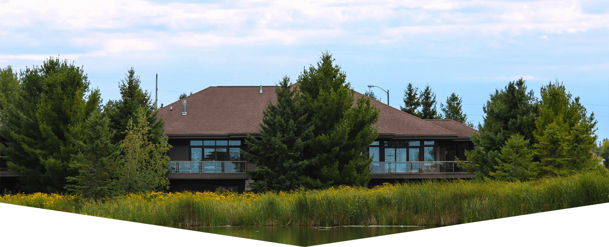 Stunning view of Prairie Run's lakefront property. Condominiums and residential lots surrounding Prairie Lake.