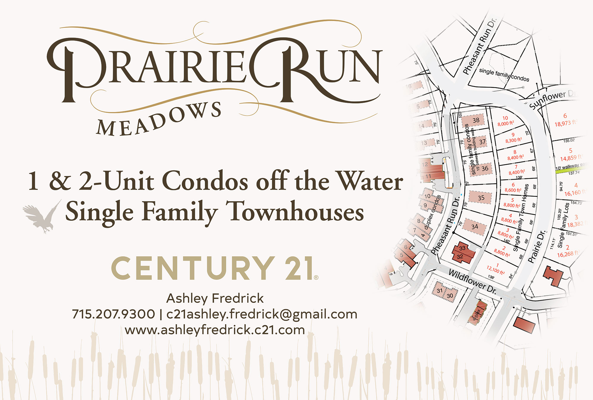 Prairie Run Meadows existing infrastructure and lot map. Off the water 1 & 2 unit condominiums and single family townhouses
