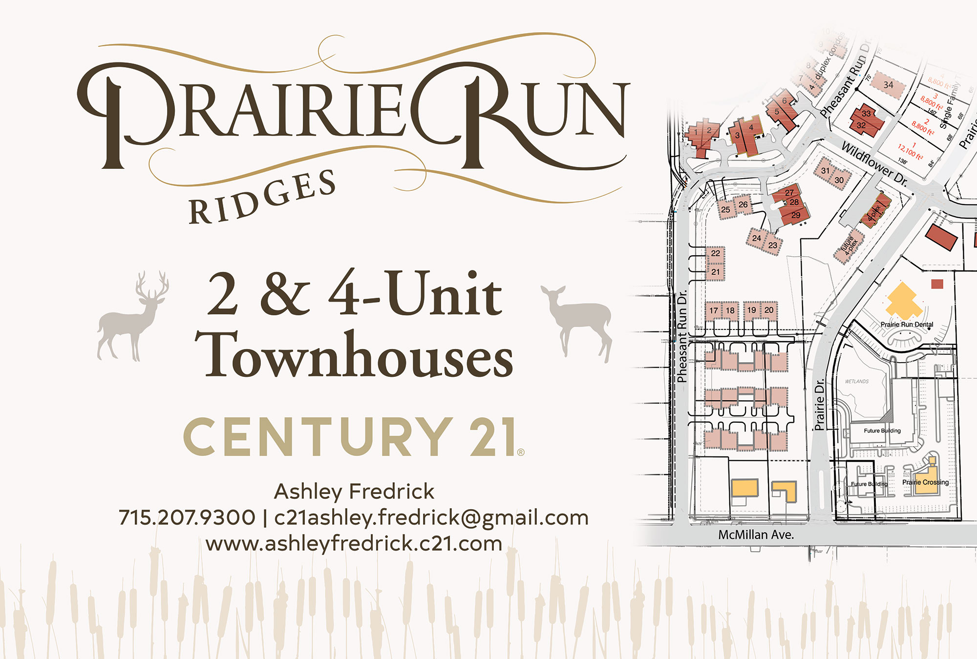 Prairie Run Ridges existing infrastructure and lot map. Two- and four-unit townhouses